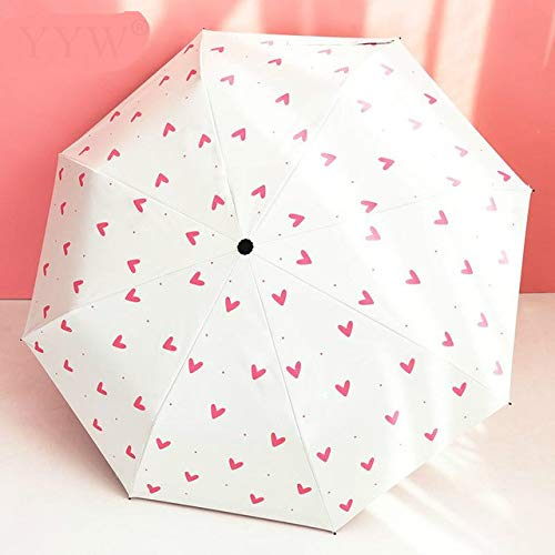 Faltbarer Sonnenschirm Regen Regen Regenschirme der Frauen Herz SonnenschirmSommerreise Sombrilla - 2