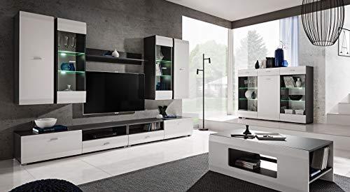Moderne Wohnwand Anbauwand Cleo in Farbe Graphit+Weiß Schrankwand mit Led Beleuchtung 10 (Wohnwand+Couchtisch)