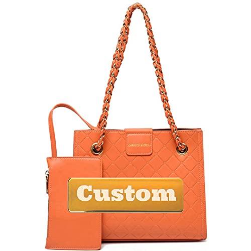 Nombre Personalizado Bolso de Moda de Mujer Strap de Cuero de Hombro Bolsa de Billetera Crossbody Bolsa Vegan (Color : Orange, Size : One Size)