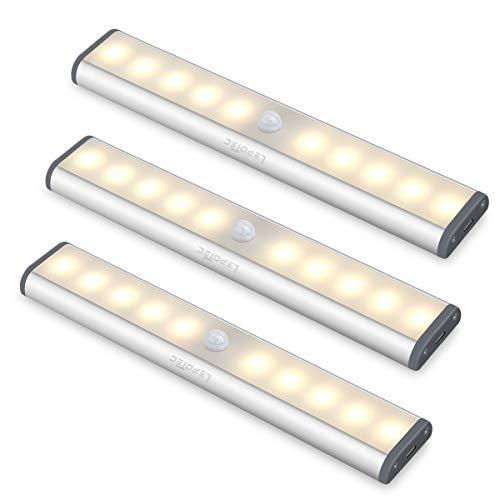led Armadio Sensore Movimento Luce, Wireless Luci Barra Lampada Guardaroba, USB Batteria Luce Emergenza per Armadio Scale/luce calda(3pezzi)