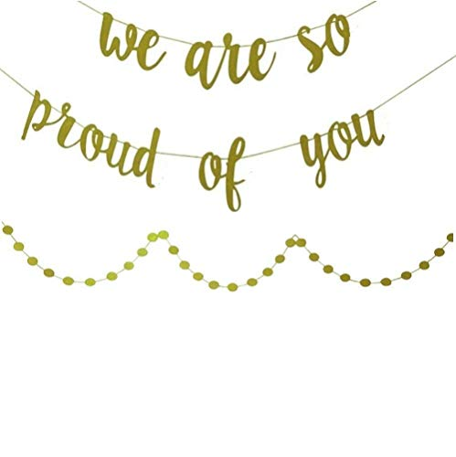 YOFEY1   Graduation Decorations,Graduation Party Supplies 2021 ,We Are So Proud Of You Banner, With Gold Glittery Circle Dots Garland, Congratulations Banner,Congrats Banner