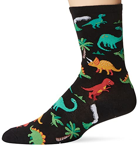 Hot Sox Women's Animal Series Novelty Fashion Casual Crew Socks, Dinosaurs (Black), Shoe Size: 4-10