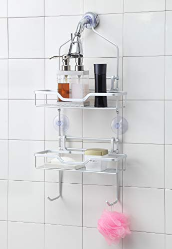 SunnyPoint NeverRust Muti-Function Aluminum Shower Caddy, NeverRust Aluminum Shower Caddy Over The Shower Head/Over The Door. Rust Proof