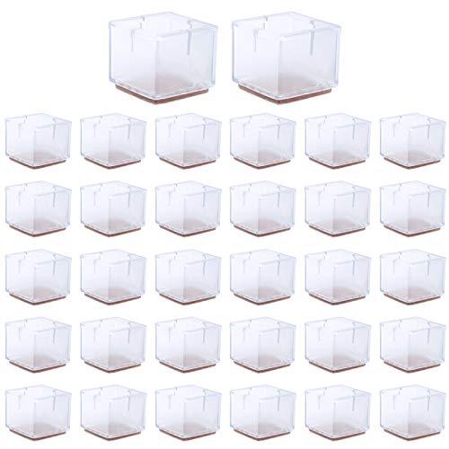 Silla Tapas de Patas 32Pz Protectores de Piso para Pata de Silla Almohadilla para muebles sillas Tapas Transparente de pata de la silla de protección de pisos para Patas Cuadrado de 31 a 36 mm