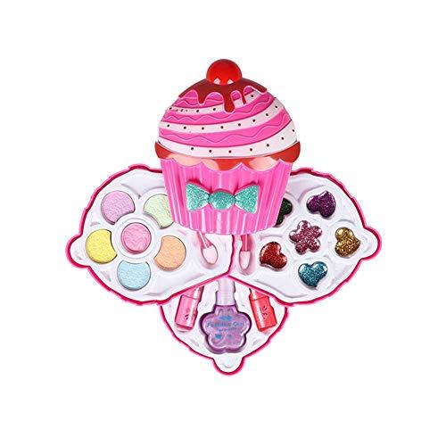 Piccola Fata principessa reale Insieme di trucco per ragazze bambini 3 Tier Cosmetic Set compatto di bellezza Vanità Caso bambini cosmetici fingono il pratico kit regali di festa