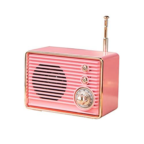 KingbeefLIU M10 Altavoces Bluetooth Retro Galvanoplastia Mini Square TV Tarjeta Recargable Radio Caja De Sonido Inalámbrica para El Hogar Rosado