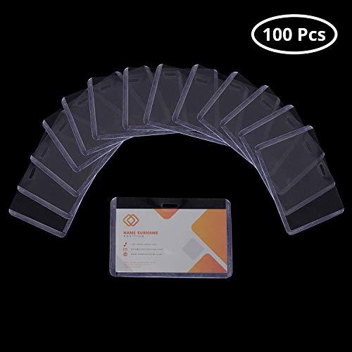 Fundas Tarjetas Identificación (100 Piezas) - 6,7 x 10cm Portatarjetas de Vinilo Horizontal para Escuelas, Universidad, Eventos, Trabajadores de Oficina - Transparente Nombre Insignia Titulares