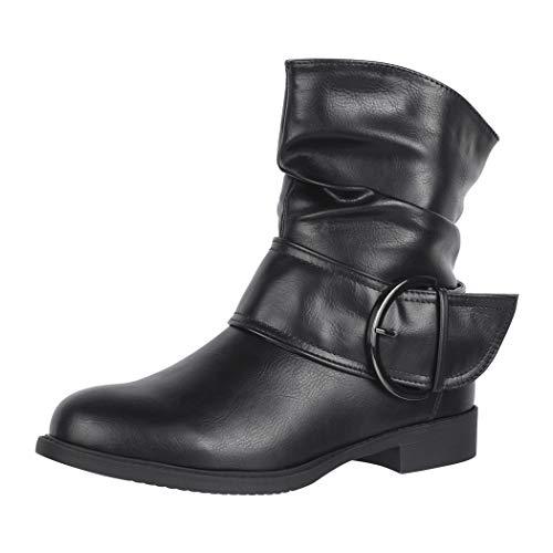 Elara Damen Stiefelette Gefüttert Schnallen Boots Chunkyrayan B9815-KB Black-38