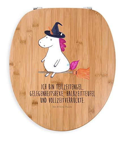 Mr. & Mrs. Panda Klodeckel, WC-Sitz, Motiv WC Sitz Einhorn Hexe mit Spruch - Farbe Transparent