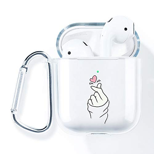 AirPod Case,AKABEILA Compatible for AirPods 2&1 2019 Case Silicone Transparent Cute Cover (LED Visible & Support Wireless Charging) Shockproof Full Protector with Carabiner,Gesture Love 51