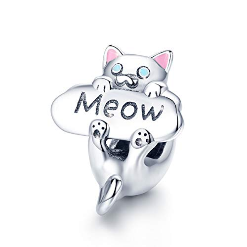 Ciondolo a forma di gatto in argento Sterling 925, ciondolo a forma di gattino con zirconia cubica rosa, adatto per braccialetti e collane, regalo di Natale per donne e ragazze Style 2