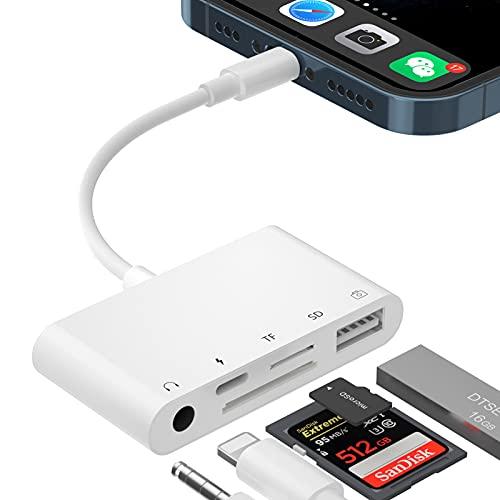 Adaptador Lector Tarjetas SD para i-Phone, Adaptador Cámara USB OTG 5 en 1con Lector de Cámara USB y Ranura para Auriculares de 3,5 mm jack, Ranura para Tarjetas SD/TF para i-Phone /Pad, Teclados