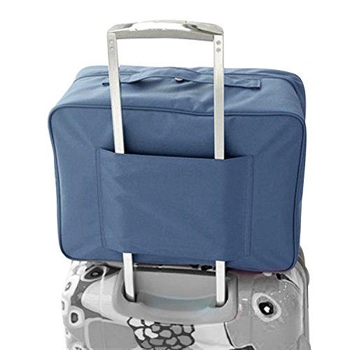 Nylon impermeabile Duffle Bag bagagli di corsa Borsone con carrello manicotto di sacchetto di volo per Holiday Gym Clothes Valigia sacchetto dell'imballaggio con Eye Mask (blu)
