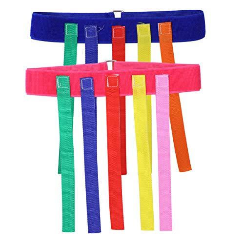 Toyvian 2 stücke Kinder Outdoor Toys ziehen Schwanz gürtel Spiel pädagogisches Sport Spielzeug für Kinder (blau und rosa)
