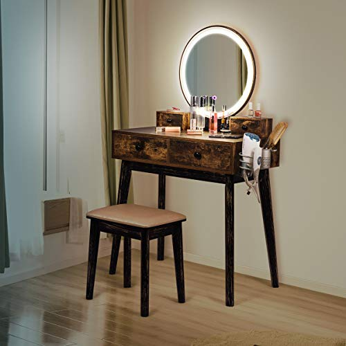 Vanity Set with Lighted Mirror and Bench, 3-Color Touch Screen Dimmable Mirror, -
