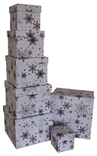 0 41747 Weihnachtsgeschenkkarton Flocken weiß - 7 tlg, Würfel