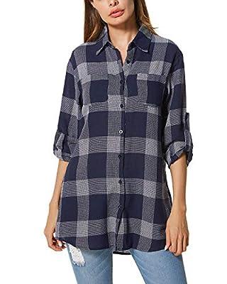 ACHIOOWA Womens Buffalo Plaid Shirt Flannel Long Sleeve Tops Button Down Collar with Pocket