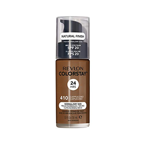 Revlon ColorStay Makeup for Normal/Dry Skin SPF 20, Longwear Liquid Foundation, with Medium-Full Coverage, Natural Finish, Oil Free, 410 Cappuccino, 1.0 oz