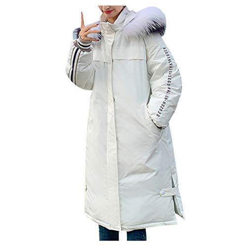 Alikeey Damesmode, warme winterjas, slank, lange mouwen, jas, XXL(Größer empfehlen), wit