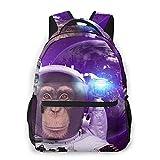 EUlemon Mochila para computadora portátil de viaje,Mono astronauta espacial en el espacio exterior con imagen de humor del planeta Tierra,mochila antirrobo resistente al agua para negocios