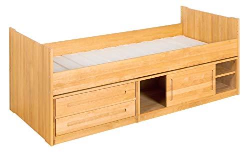 BioKinder Stapelbed Functioneel bed Commodebed met schuifdeur, 2 lades en lattenbodem Lina van massief houten elzenhout 90 x 200 cm