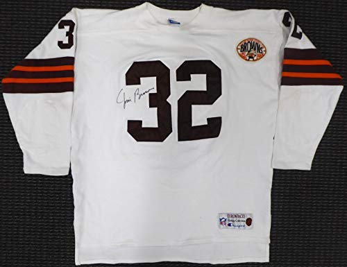 Cleveland Browns Jim Brown Autographed Champion Vintage White Jersey Beckett BAS #S04193 - Autographed NFL Jerseys