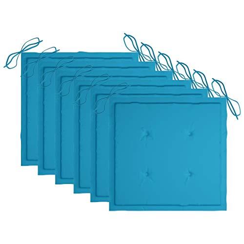 vidaXL 6X Cojines de Silla de Jardín Asiento Tumbonas Patio Terraza Exterior Acolchado Almohadilla Cómoda Práctico Tela Azul Real 50x50x4 cm