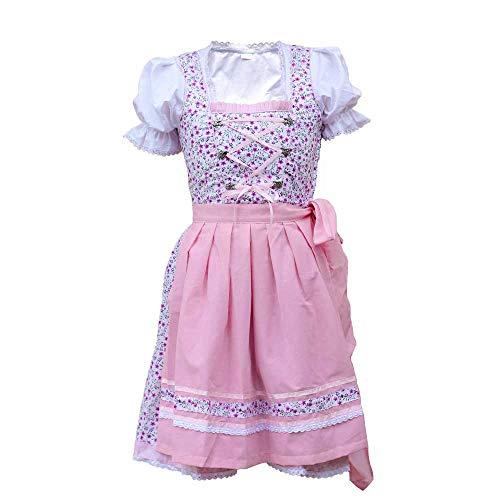 MS-Trachten Kinder Dirndl Trachtenkleid Marie 3 teilig (rosa, 104)