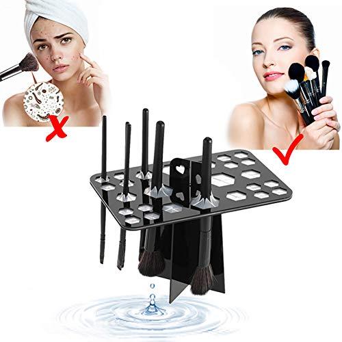 Xiton Make Up Pinsel Halter Acryl Pinsel Organizer Kosmetik Aufbewahrung Pinsel Aufbewahrung Pinselhalter Makeup Ständer Pinsel Trockner,26 Löcher, Satz 1