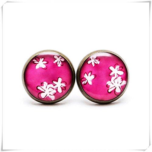 Elf House Pendientes de poste rosa, floral, joyería floral, pendientes botánicos, pequeños pendientes florales, rosa claro blanco flor