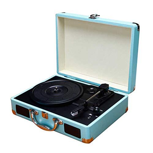 Xu-music Suit Case Style platenspeler 3-speed draagbaar vinyl LP Player-stereo Aux Input/RCA Line out Vintage Vintage Vinyl Record Speler, Blauw