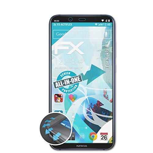 atFolix Schutzfolie kompatibel mit Nokia 8.1 Folie, ultraklare & Flexible FX Bildschirmschutzfolie (3X)