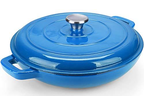 Puricon 3,6 litros Pentola Ghisa Bassa in Ghisa Smaltata 33cm, Casseruola Rotonda Bassa in Ghisa Smaltata per Cuocere al Forno, Grigliare, Stufare o Arrostire –Blu