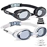 Swimming Goggles 2 Pack Swim Goggles Anti Fog Goggles Adult Swimming UV Protection Fit for Adult Men Women Youth Junior, No Leaking Soft Silicone Seal Flat Lens Clear Vision, 3 Sizes of Nose Bridge