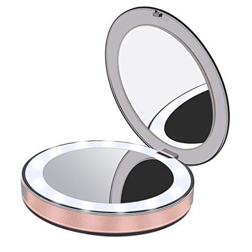 Joly Joy Espejo Maquillaje con Luz LED Elegante & Mini (2019 Version) con Aumentos 3X Magnifying Makeup Mirror, Espejo Portátil para Viaje, Mano, Bolsa y Regalos (Oro Rosa) (Oro Rosa)