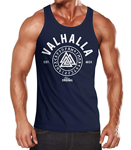 Neverless Herren Tank-Top Valhalla Runen Vikings Wikinger Muscle Shirt Navy M