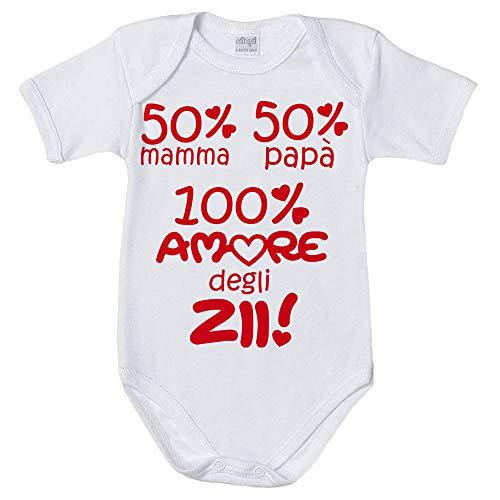 Fupies Body Neonato 50% Mamma 50% papà 100% Amore degli zii Grafica Neutra, 3 Mesi, Manica Corta