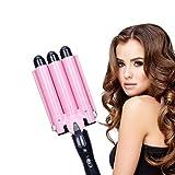 Rizador de pelo con 3 barriles, ondas grandes, 22 mm, herramienta de calentamiento rápido para pelo largo y corto (rosa)
