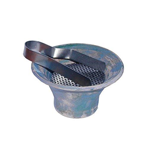 Encensoir en terre cuite en bleu antique, insert en acier inoxidable et pince à charbon inclus- stable et récipient adéquat pour la fumigation, Ø env. 10 cm / Hauteur env. 5,7 cm