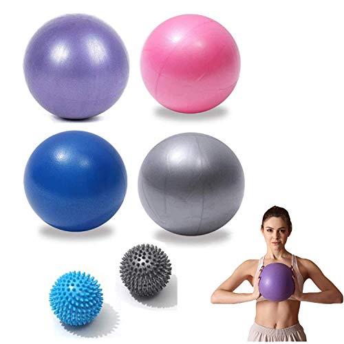 CDblue 4 Pcs Gymnastikball(23 cm) +2 Pcs Massagebälle(7cm) Mini Pilates Ball Yoga Ball inkl Aufblasen Röhrchens, Für Fitness, Reha, Rückentrainin
