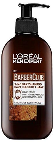 L'Oréal Men Expert Barber Club 3-in-1 Kopf- und Bartshampoo mit Zedernholzöl für die tägliche Bartpflege, reinigt Bart, Gesicht, Haar und beseitigt Bartschuppen