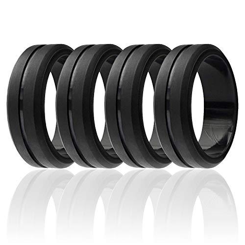 ROQ Silicone Wedding Ring for Men, Set of 4 Elegant, Affordable Silicone Rubber Wedding Bands, Brushed Top Beveled Edges -4 Pack Black - Size 10