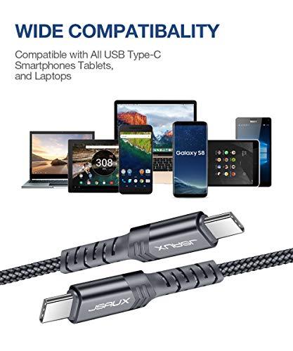 JSAUX Kabel USB C auf USB C [2 Stück] Langlebiges USB-Kabel C kompatibel mit Samsung Galaxy S20, Note20/10/10+, Google Pixel 2/3/4/2XL/3XL/4XL, Nexus 6P, Macbook Pro, iPad Pro 2018 – Grau