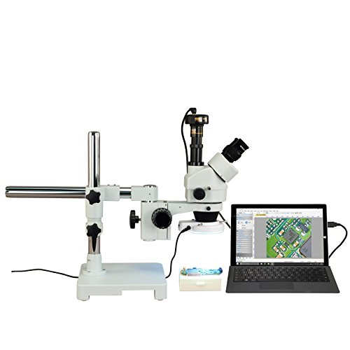 OMAX 3.5X-90X Digital Zoom Trinocular Single-Bar Boom Stand Stereo Microscope with 54 LED Ring Light and 3.0MP USB Digital Camera