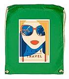 Druckerlebnis24 - Bolsa de tela para gafas de sol Time to Travel (algodón orgánico), color verde, tamaño talla única