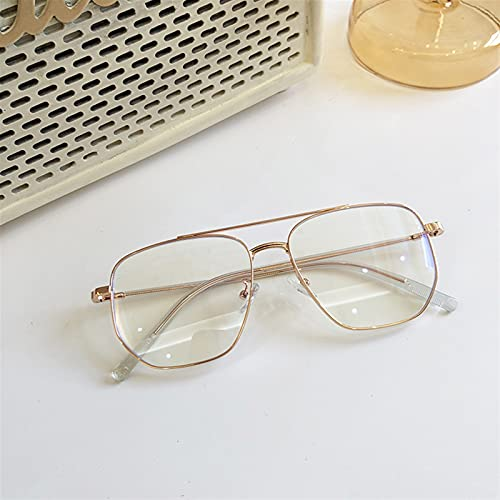 yqs Gafas de Lectura, Anti Rediación Blue Ray Glasses Mujeres Hombres Transparente Computadora Bloqueo Luz Fashion Square Square Optical Eyeglasses Frames (Color : Rose Gold Clear, Size : +200)