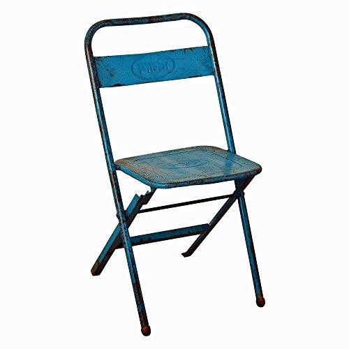 Freudenhaus Vintage Klappstuhl Easy Metall Blau Shabby Chic Outdoor Stuhl