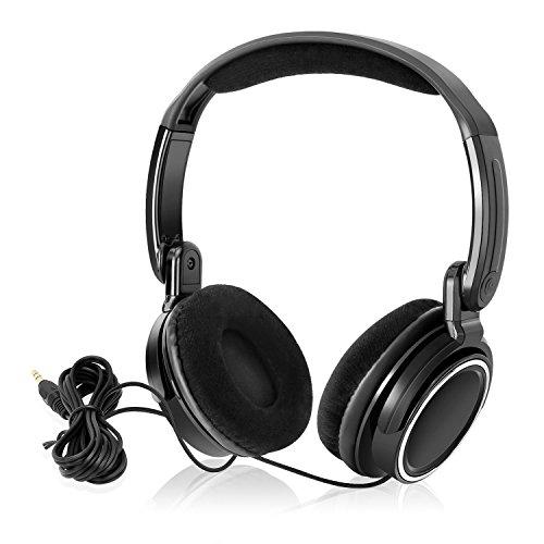 NAVISKAUTO Kopfhörer Faltbarer Bügelkopfhörer Stereo Audio System 1,5m Kabel 3,5 mm Klinkestecker für Tragbarer DVD Player Kopfstütze Monitor PC Mp3 Tablet HP001B