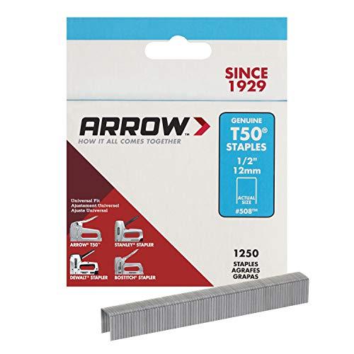 ARROW 508 Genuine T50 1/2-Inch Staples, 1,250-Pack