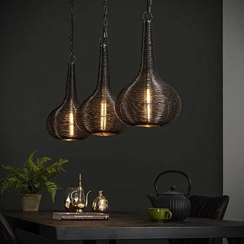 famlights Hängelampe Mit Stecker | Vintage Lampe schwarz| Esszimmerlampe / 3-flammig Dimmbar Fassung: E27 Esstisch Lampe | Lampe Wohnzimmer Holz / E27